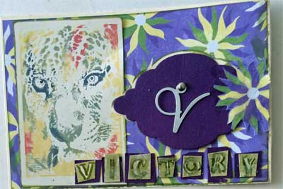 art postcard with raised letter V