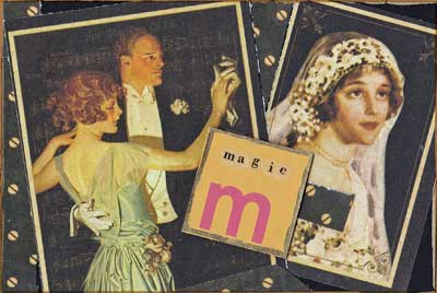 postcard with raised letter M