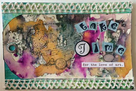 art postcard with raised letter T
