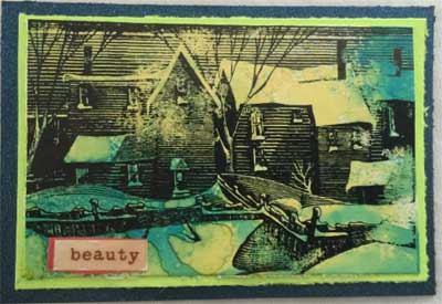 artist trading card with winter picture